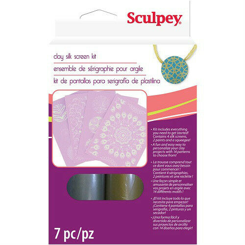 SCULPEY-Polymer-Clay-SILK-SCREEN-KIT-Metallic-Paint-Screens-and-Patterns