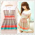 Womens Dress Colorful Stripes Summer Chiffon Dress