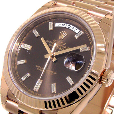 ROLEX DAY DATE 228235 PRESIDENTIAL 40 mm 18K EVEROSE GOLD CHOCOLATE BAGUETTE