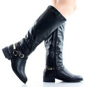 Buckle Riding Knee High Boots