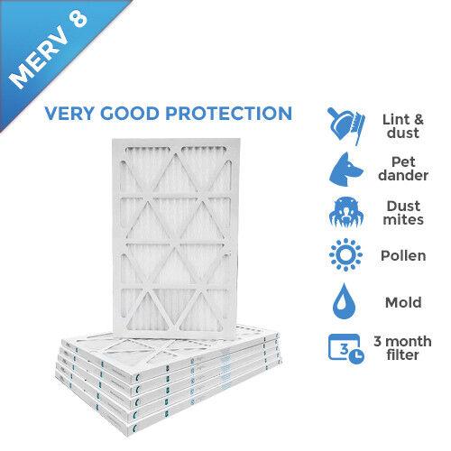 16x25x1 MERV 8 Pleated AC Furnace Air Filters. 6 Pack
