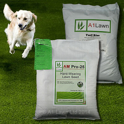 HARD-WEARING GRASS SEED 10kg & WEED, FEED & MOSS KILLER 10kg (MULTI-SAVE PACK)