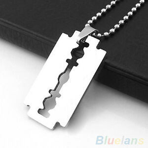 Unisex Stainless Steel Razor Blade Shaped Pendant Dogtag Necklace Brand New