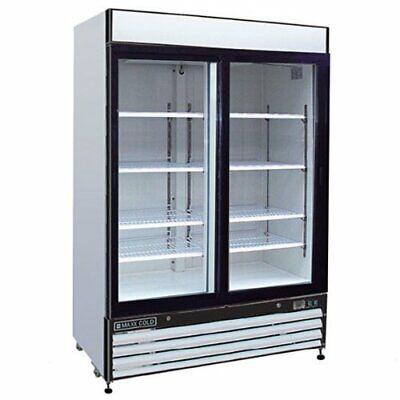 Maxx Cold Mxm2-48r Refrigerator 2 Two Glass Door Reach In Cooler Merchandiser