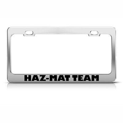 HAZ-MAT TEAM CAREER License Plate Frame Stainless Metal Tag Holder