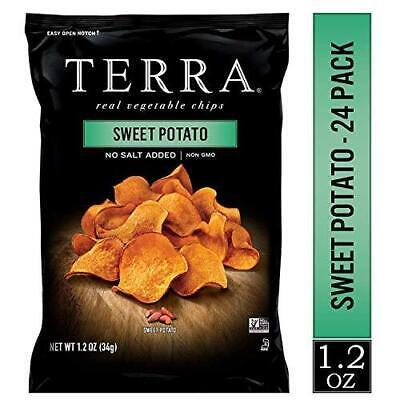 TERRA Sweet Potato Chips, No Salt Added, 1.2 oz. (Pack of 24) No Salt Potato Chips