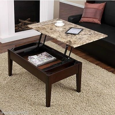 Faux Marble Lift Top Coffee Table Espresso Solid Wood Wit...