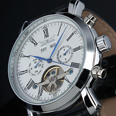 Mens Watch Mechanical White Dial Date Leather Self-winding Tourbillon Luxury