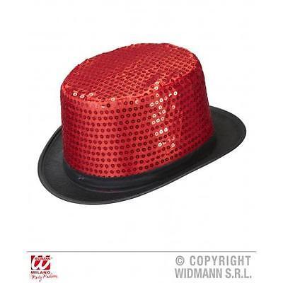 Adult Red Sequin Top Hat Show Girl Burlesque Circus Girl Fancy Dress Cap (Red Sequin Top Hat)