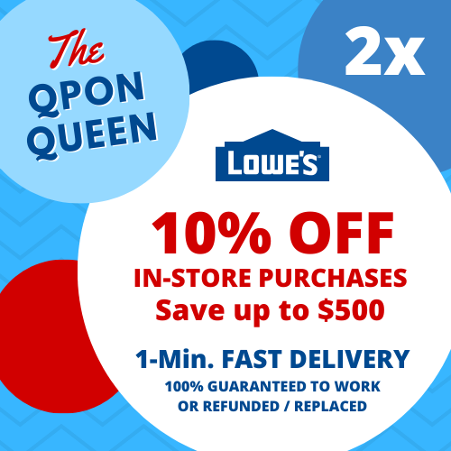 Купить Lowes 10 PERCENT OFF - TWO 10% OFF Lowes 2Coupons (2X) IN-STORE ONLY - 1min - NOT 20 30 50 100