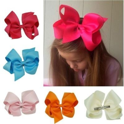 Cute Big Ribbon Hair Bows Clip Girls Baby Hairpin Bow Tie Accessories Pure Color