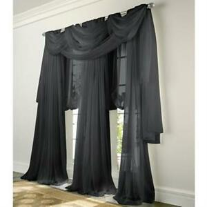 luxury sheer voile panel window curtain black white beige