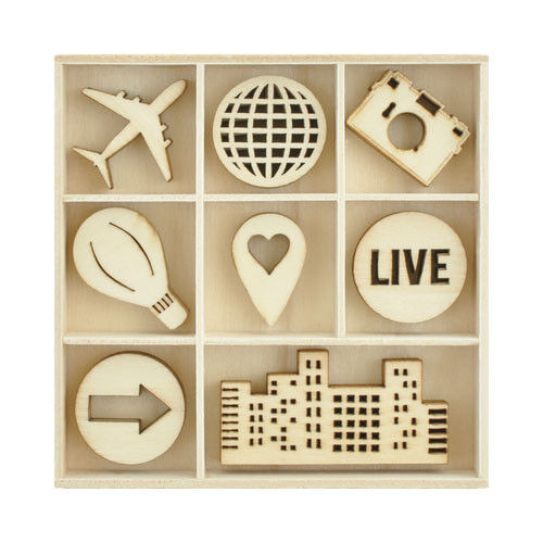 Kaisercraft Wooden Flourish packs / storage box 74 selections - Fly Away