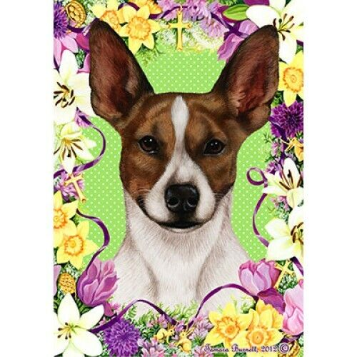 Easter House Flag - Brown and White Rat Terrier 33130