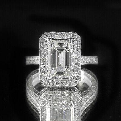 2.6ct GIA 18K White Gold Emerald Cut Diamond Engagement Ring H/SI1 (2167763392)