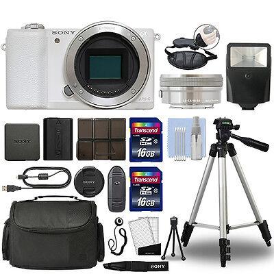 Sony Alpha a5100 Mirrorless Digital Camera with 16-50mm Lens White + 32GB Bundle