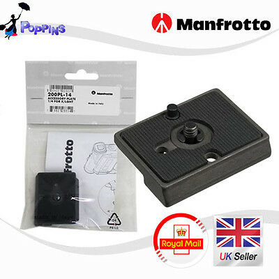 "New Manfrotto 200PL  1/4"" - 3/8 "" Screw Attachment Type  Quick Release Plate"