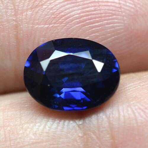 Oval 9x7 MM Ceylon Deep Blue Sapphire Lab Corundum Jewelry Hand Cut