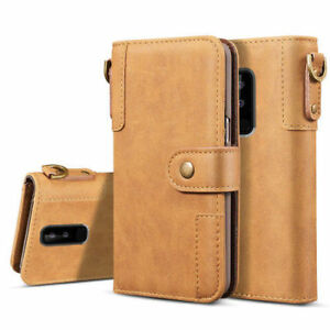 Samsung Galaxy S9 Plus Cowhide Leather Flip Card Wallet Case