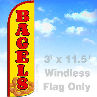 Bagels - Windless Swooper Flag Feather Breakfast Bakery Banner Sign 3x11.5 - Yq