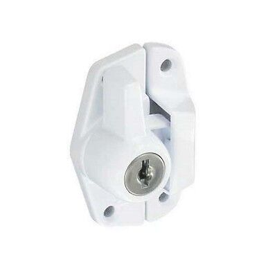 Securit Locking Sash Fastener White 65mm Security 2 Keys Window Lock