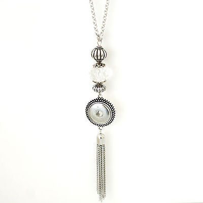 "Fits Ginger Snaps 30"" SNAP NECKLACE Silver Tassel 18mm Interchangeable Jewelry"