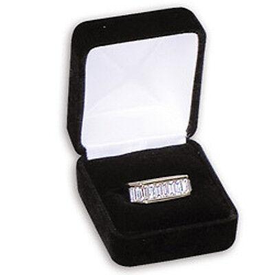 3 Large Black Velvet Ring Jewelry Display Gift Boxes