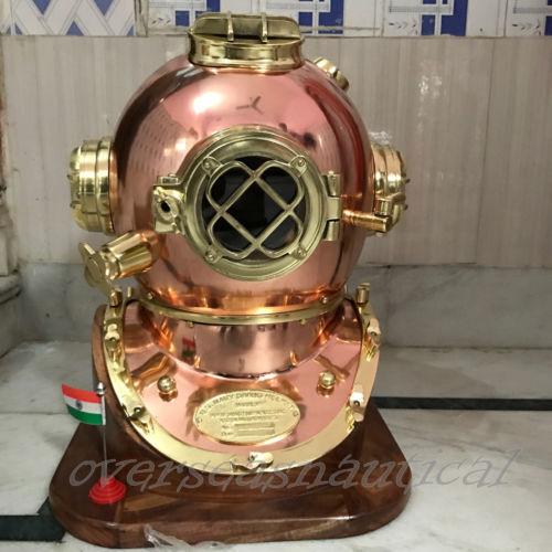 Antique Brass Diving Divers Helmet Steel Vintage Mark V Full size w Wooden Base