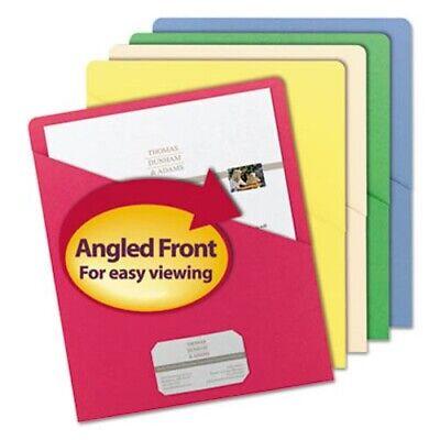 Smead Slash Pocket Folders Letter 11 Point Assorted Color 25pack Smd75425