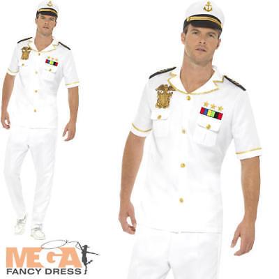 Captain Mens Fancy Dress Military Army Navy Uniform Occupation Adults - Navy Captain Uniform Costume