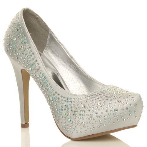 Silver Diamante Wedding Shoes