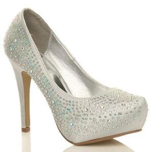 5e131f70d74 Silver Diamante Wedding Shoes