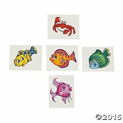 72 Fish Temporary Tattoos Birthday Party Favors Ocean Theme Kids Luau Tropical (Ocean Themed Tattoos)