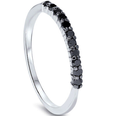 1 4Ct Treated Black Diamond Ring 10K White Gold