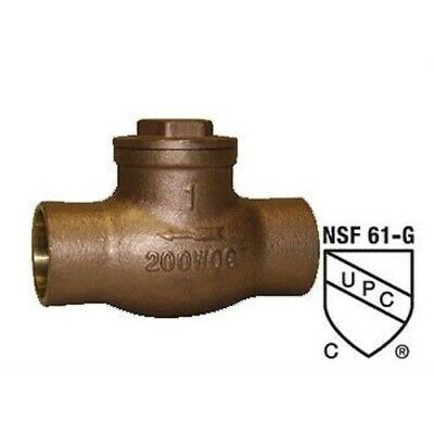 1 Inch Lead Free Brass Swing Check Valve With Ips Female Threaded Connections