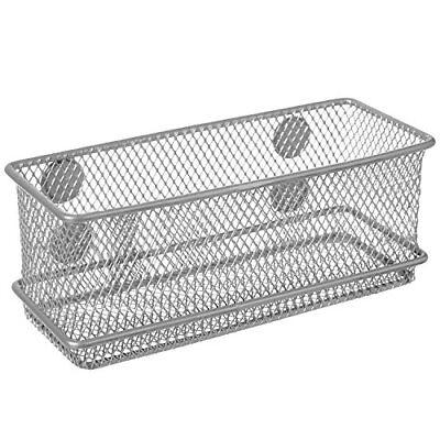 NEW Magnetic Rectangular Metal Mesh Storage Bins Office Organizer Basket Silver