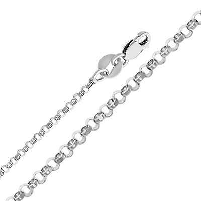 14K Real White Gold 1.6mm Classic Rolo Cable Chain Necklace 18