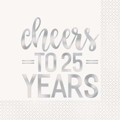 25th ANNIVERSARY Cheers to 25 Years LUNCH NAPKINS (16) ~ Wedding Party Supplies ()