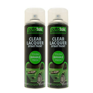 Autotek AT000CL500 Clear Lacquer Spray Paint 2 Cans 500ml