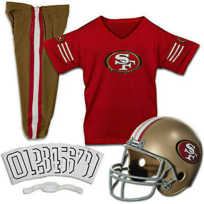 San Francisco 49ers Uniform Set Youth NFL Football Jersey Helmet Costume Large