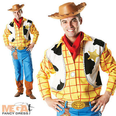 Toy Story Woody + Hat Mens Fancy Dress Disney Western Cowboy Adults Costume New - Woody Toy Story Costume Men