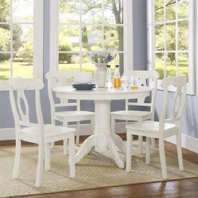 - Cottage Farmhouse Dining Set White 5 Piece Wood Round Table Chairs Kitchen NEW
