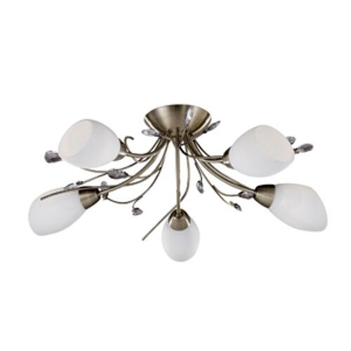 SEARCHLIGHT GARDENIA 5 LIGHT CEILING LIGHT FITTING IN ANTIQUE BRASS No 1765-5AB