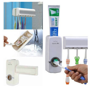 White Automatic Toothpaste Dispenser + 5 Toothbrush Holder Set Wall Mount Stand