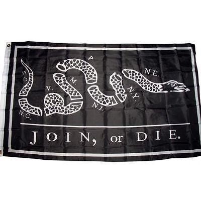 3X5 Black Join Or Die Benjamin Franklin Tea Party Flag 3X5 House Banner