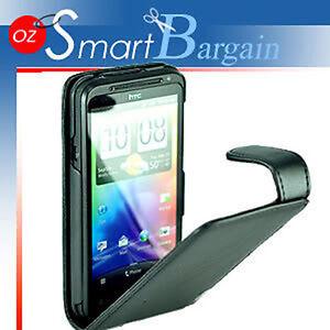 Premium BLACK Flip Leather Case Cover For HTC EVO 3D + Screen Protector