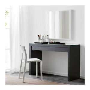 IKEA MALM Desk / Vanity Table w. Glass Top & Pull Out Draw