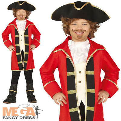 Captain Hook Halloween Costumes Child (Caribbean Pirate Boys Fancy Dress Buccaneer Captain Hook Kids Halloween Costume)