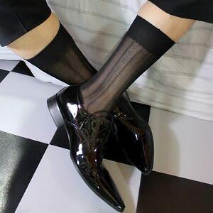 New Design Mens Black Silky Sheer Socks Thin Nylon Dress