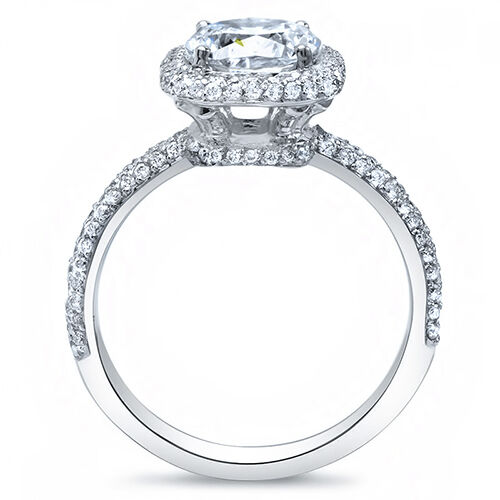 3.04Ct Cushion Cut Micro Pave Halo Round Diamond 18K Engagement Ring F, VVS2 GIA 1